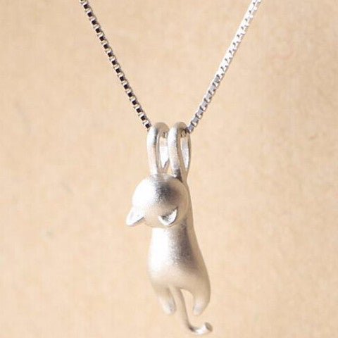 Fun Kitty Cat Sterling Silver Necklace - Love Kitty Cat