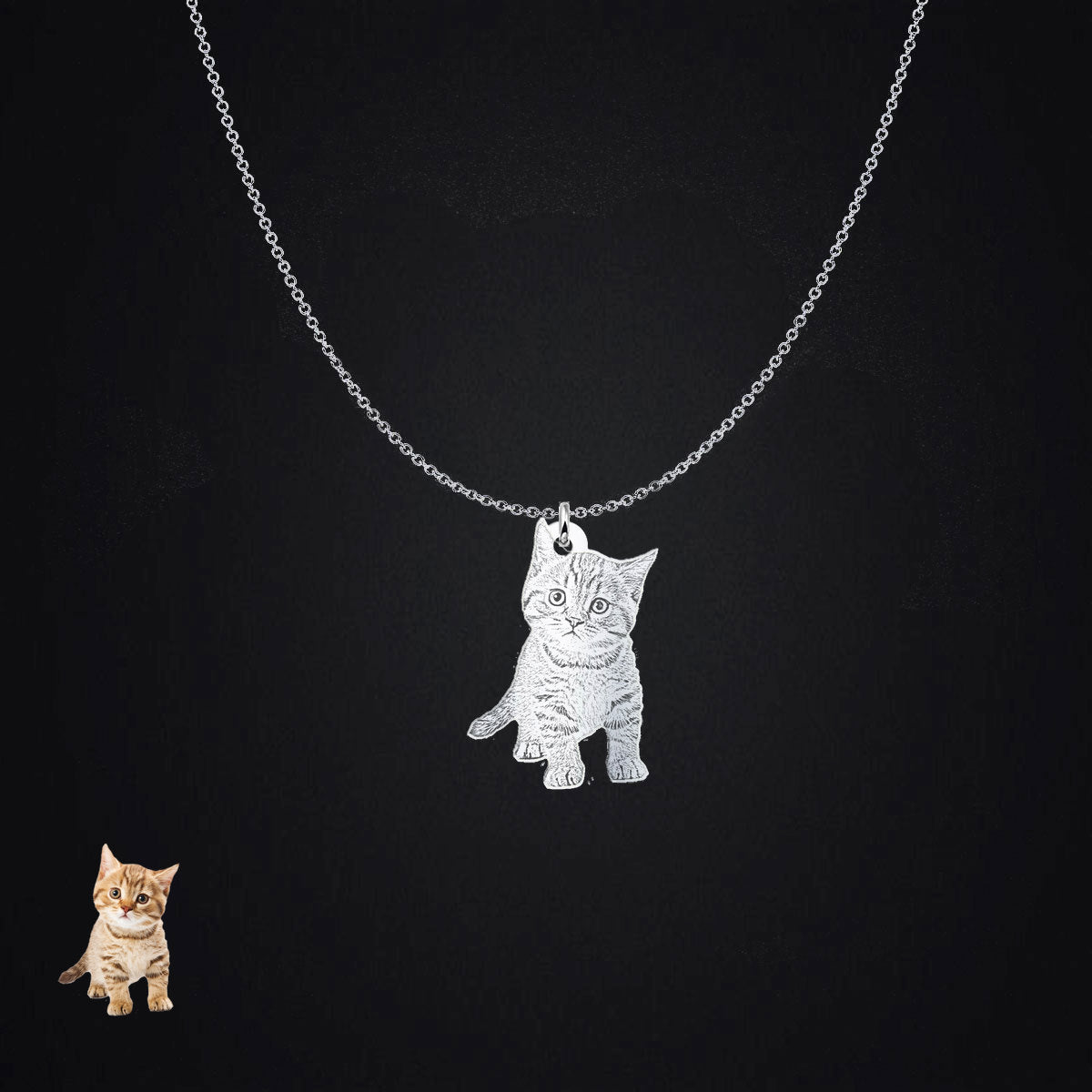 Silhouette Pendant - Love Kitty Cat