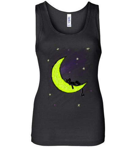 Cat Sleeping on the Moon Tank - Our Exclusive Design - Love Kitty Cat