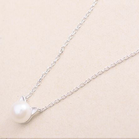 Faux Pearl & Sterling Silver Cat Ears Necklace - Love Kitty Cat