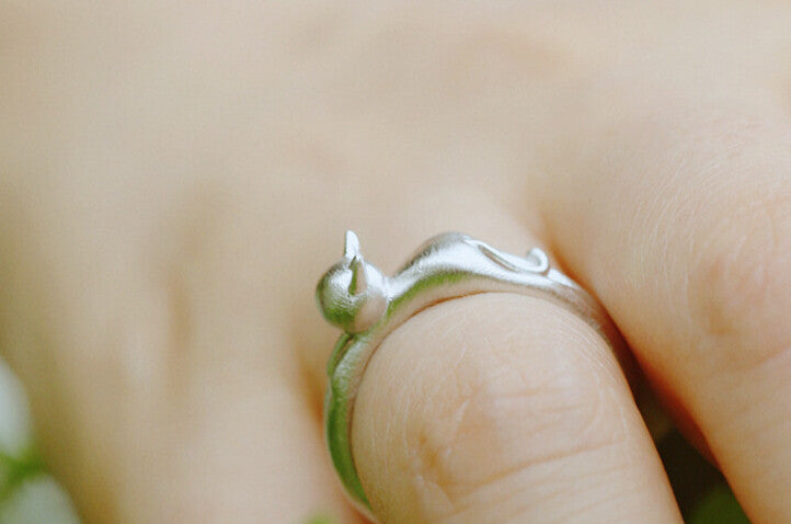 Fun Kitty Cat Adjustable Sterling Silver Ring - Love Kitty Cat