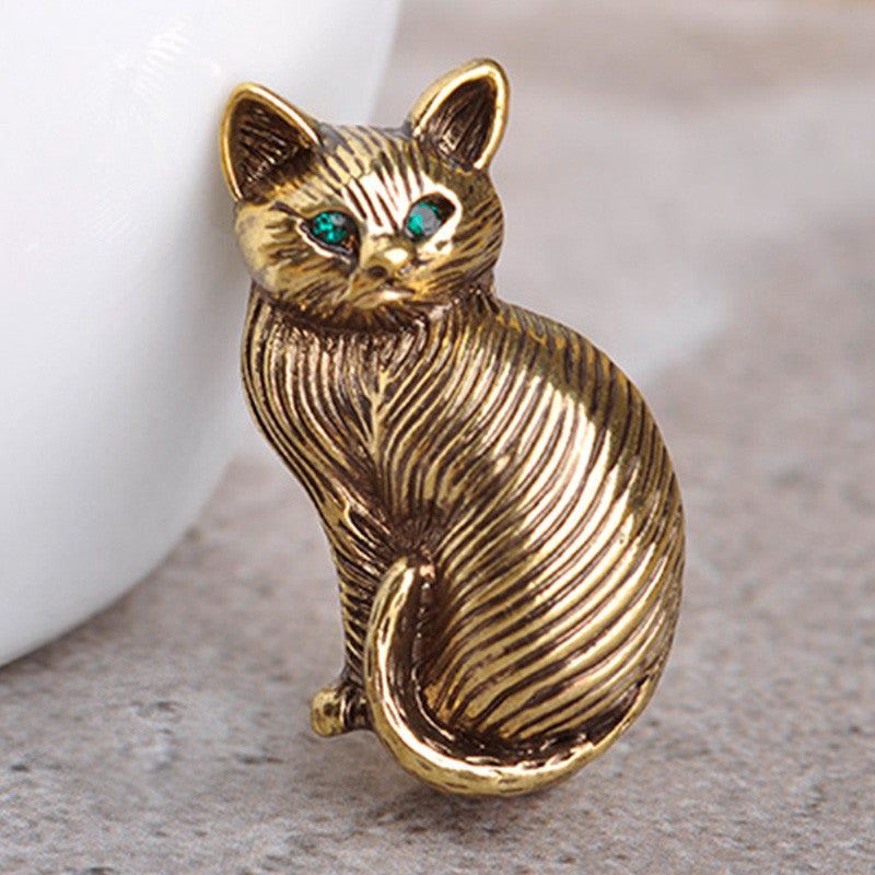 Cute Green Crystal Eyes Cat Brooch - Love Kitty Cat