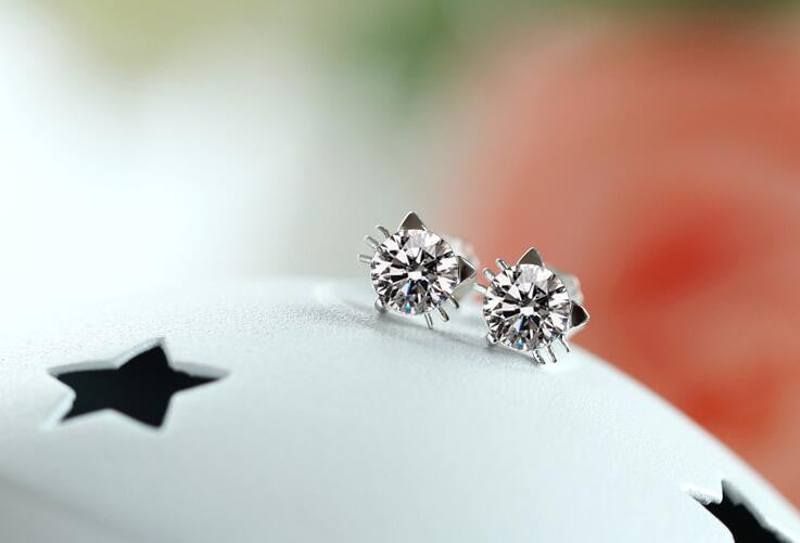 Sterling Silver & CZ Diamond Cat Earrings - Love Kitty Cat