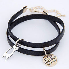 2-Layered Synthetic Leather Bracelet With Italy Mode Cat Charm - Love Kitty Cat