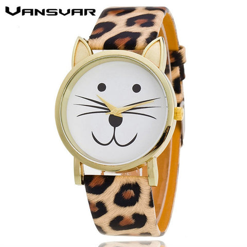 Golden Cat With Leather Strap Watch - Love Kitty Cat