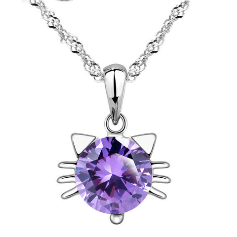 Amethyst Cubic Zirconia & Sterling Silver Cat Ear Necklace - Love Kitty Cat