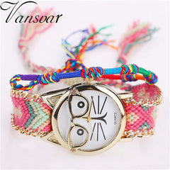Lovely Cat Friendship Braided Bracelet Watch - Love Kitty Cat