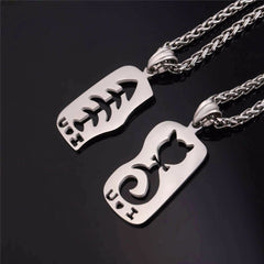 Cat & Fish Necklace Set - Love Kitty Cat
