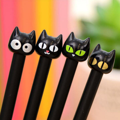 4-PC Set Kawaii Black Cat Gel Pen - Love Kitty Cat