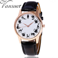 Cats, Cats, & Cats Leather Quartz Watch - Love Kitty Cat