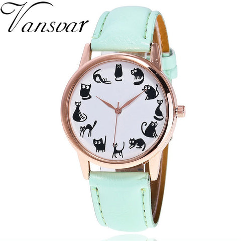 Cat, Cat, & Cat Faux Leather Quartz Watch - Love Kitty Cat
