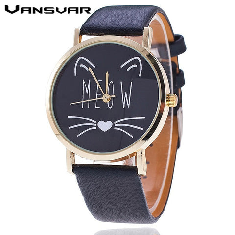 Cat's Meow Leather Quart-Watch - Love Kitty Cat