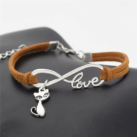 Antiqued-Silver Cat Infinity Love Leather Bracelet - Love Kitty Cat