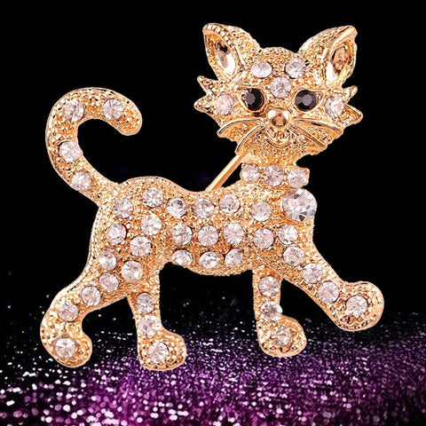 Cute Strolling Kitty Gold-Plated Rhinestone Brooch - Love Kitty Cat