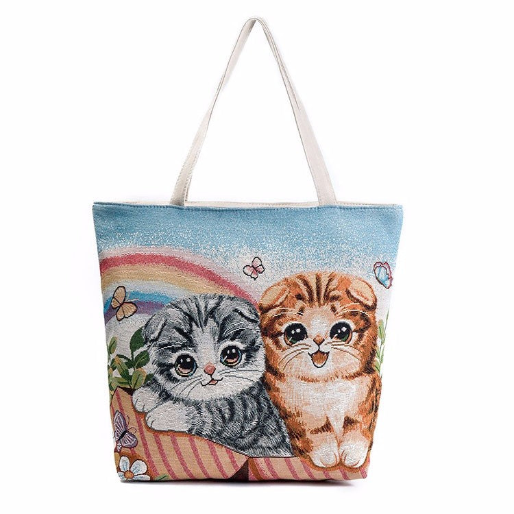 Two Playful Cats Large Tote Bag - Love Kitty Cat