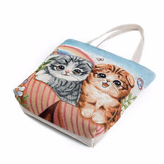 Two Playful Cats Large Tote Bag