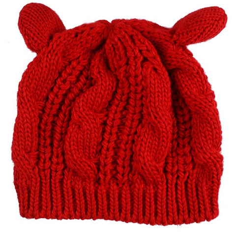 Knitted Cat Ears Beanie - Love Kitty Cat