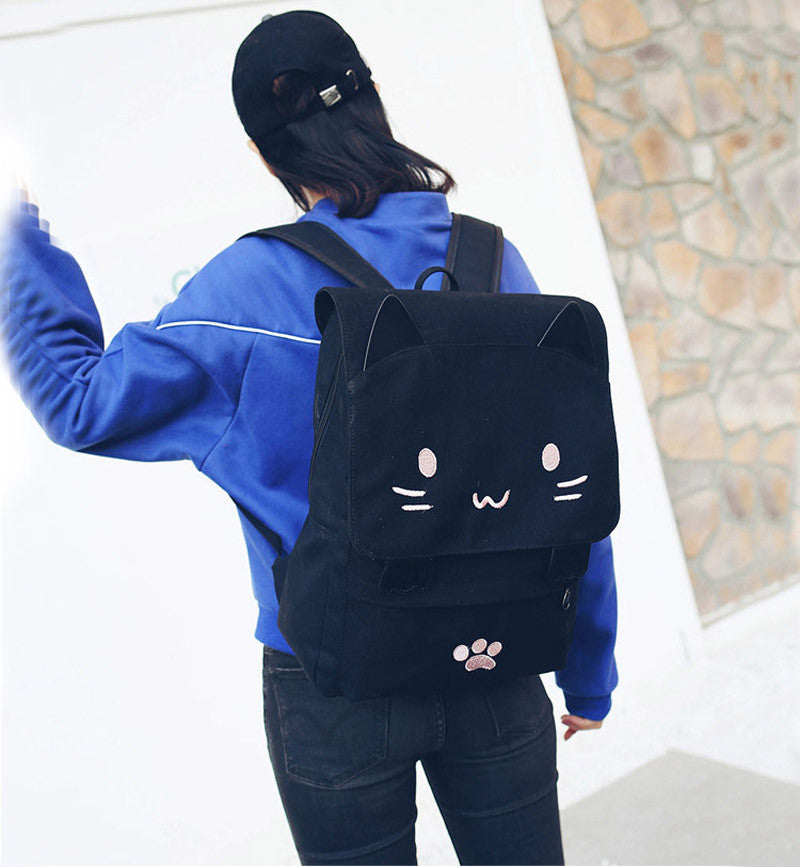 Black Cat Canvas Backpack - Love Kitty Cat