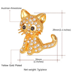 Austrian Rhinestone Cat Brooch - Love Kitty Cat