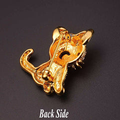Cute Little Cat Austrian Rhinestone & 18K Gold-Plated Brooch - Love Kitty Cat