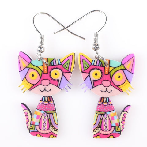 Colorful Modern Aztec-Style Cat Earrings - Love Kitty Cat