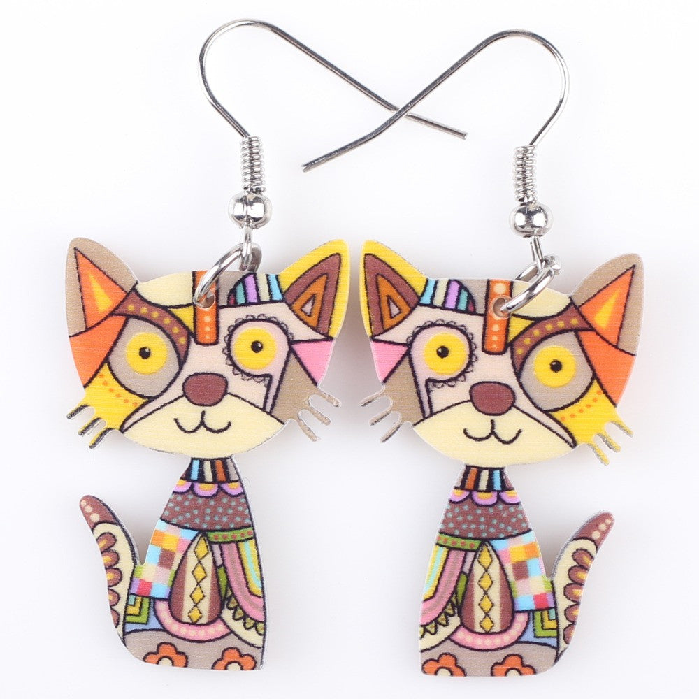 Colorful Modern Aztec-Style Cat Earrings