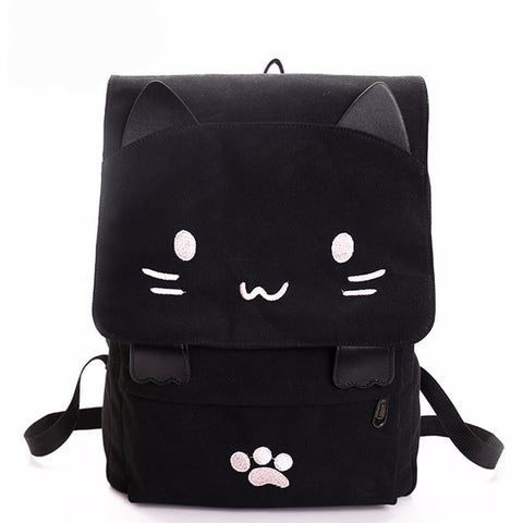 Black Cat Canvas Backpack