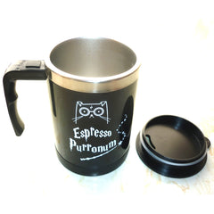 "Wizard Cat ""Espresso Purronum"" Self-Stirring Stainless Steel Mug - Love Kitty Cat"