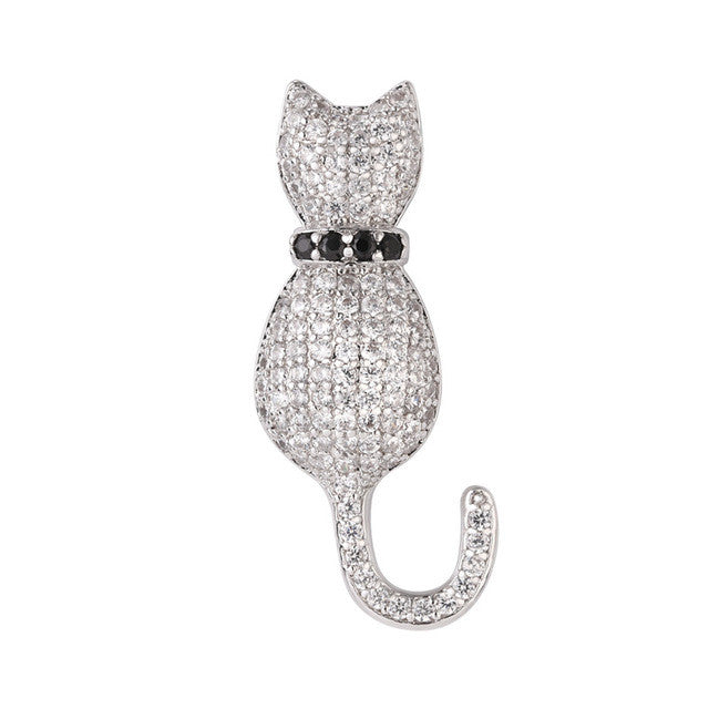 Austrian Rhinestone Cat Brooch in Silver or Gold Color