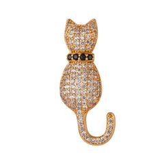 Austrian Rhinestone Cat Brooch in Silver or Gold Color - Love Kitty Cat