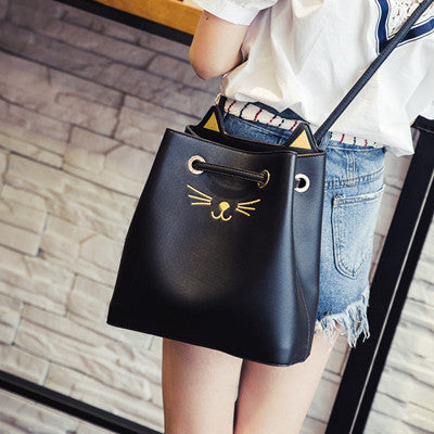 Cat Cross-Body / Shoulder Bag With Draw String Closure