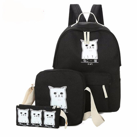 Kawaii Cat 3-Pc Set Rucksack Backpack