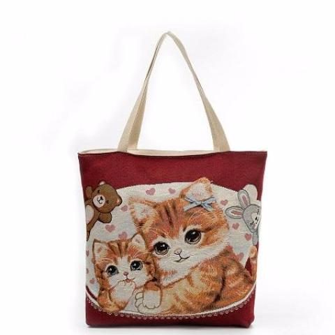 Happy Cats Large Tote Bag