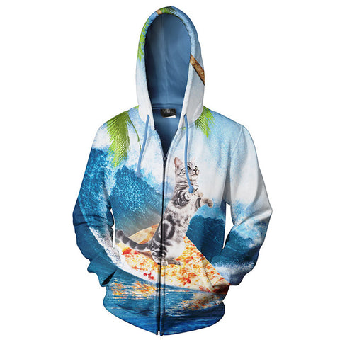Surfing Cat 3-D Printed Hoodie - Love Kitty Cat