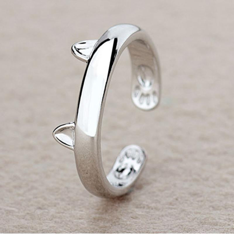Cat Ears Adjustable Silver Plated Ring - Love Kitty Cat