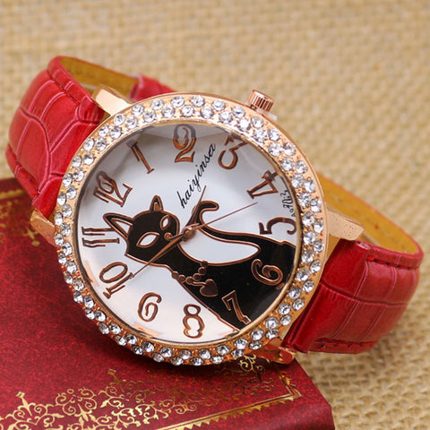 CZ Diamond Black & Gold Cat Watch - Love Kitty Cat