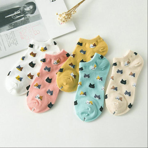 5-Pairs Cats Ankle Socks - Love Kitty Cat