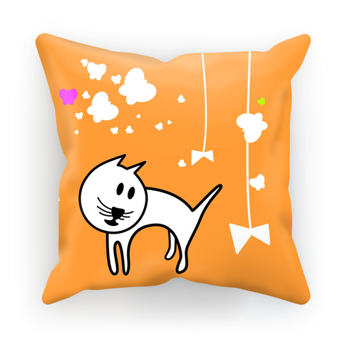 Butterflies & A Cat All-Over Print Orange Cushion - Love Kitty Cat