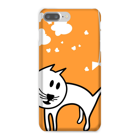 Butterflies & A Cat All-Over Print Orange Phone Case - Love Kitty Cat