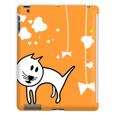 Butterflies & A Cat All-Over Print Orange Tablet Case - Love Kitty Cat