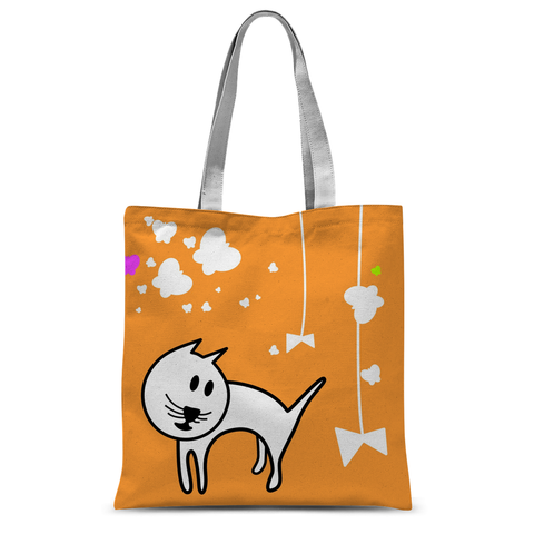 Butterflies & A Cat All-Over Print Orange Tote Bag - Love Kitty Cat