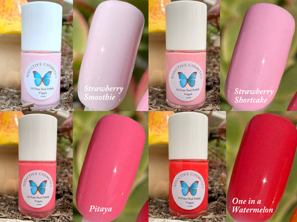 STRAWBERRY SMOOTHIE- 10 Free Nail Polish- Vegan Friendly, Cruelty Free