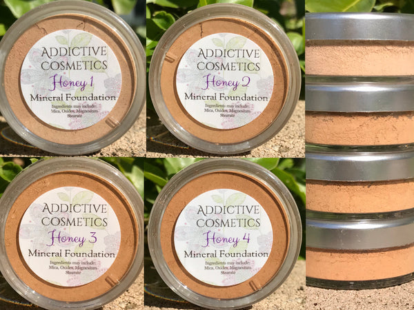 HONEY Mineral Foundation Powders- Professional Grade- All natural and Vegan Friendly- Stays on all day