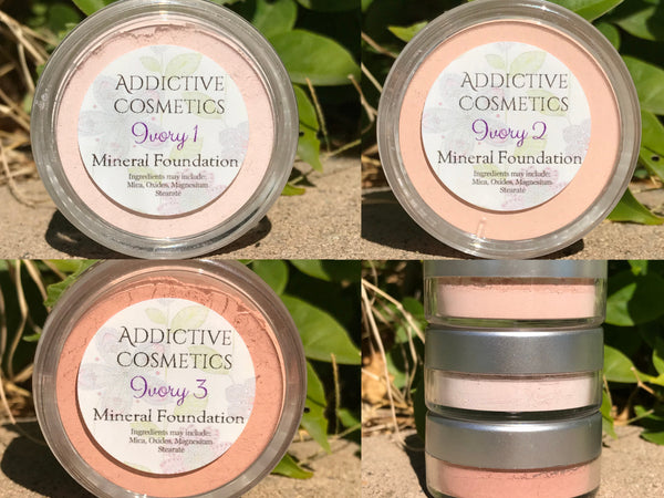 IVORY Mineral Foundation Powders- Professional Grade- All natural and Vegan Friendly- Stays on all day