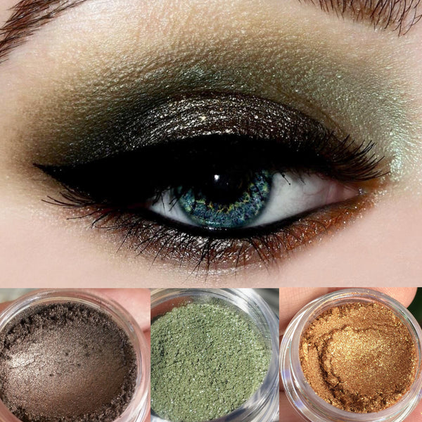 IN THE GARDEN- Get This Look Trio- All Natural, Vegan Eyeshadow and Eyeliner Makeup. Cruelty Free.