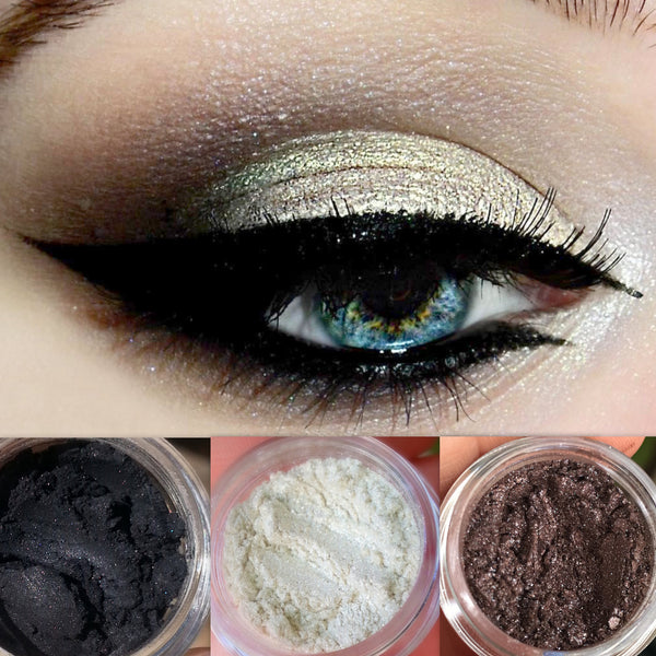 MOON GLOW- Get This Look Trio- All Natural, Vegan Eyeshadow and Eyeliner Makeup. Cruelty Free.