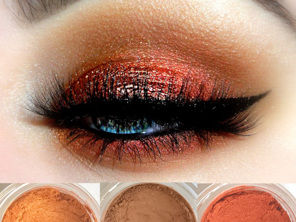 SMOLDER Trio- Get This Look! All Natural, Vegan Eyeshadow and Eyeliner Makeup. Cruelty Free Cosmetics.