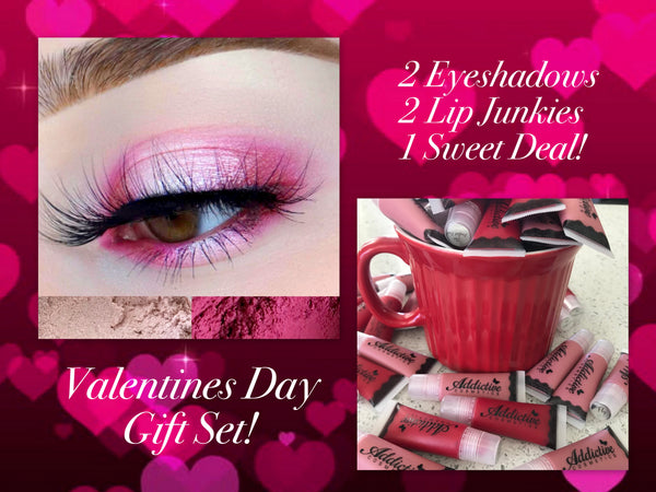 Sweet Deal Valentines Day Gift Set! Mineral Eyeshadow Duo and 2 Lip Junkies for $10 Off! Great Gift Idea!
