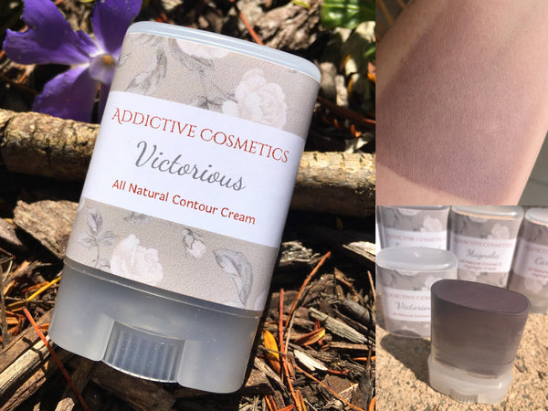 VICTORIOUS Contour Cream- Use on Eyes, Cheeks and Lips! All Natural and Vegan Friendly.