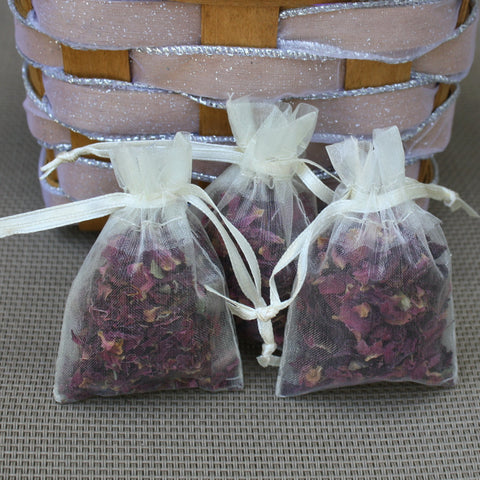 20 dried red rose sachet bags for wedding toss or wedding favors tea party favors